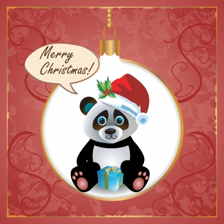 Vector Christmas greeting card with Panda and gift