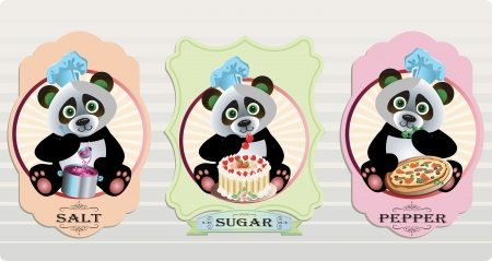 Vector labels with panda for salt and pepper