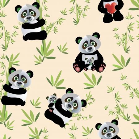 마음과 대나무 벡터 팬더 원활한 패턴 일러스트