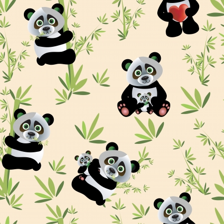 Vector Panda seamless pattern with heart and bamboo