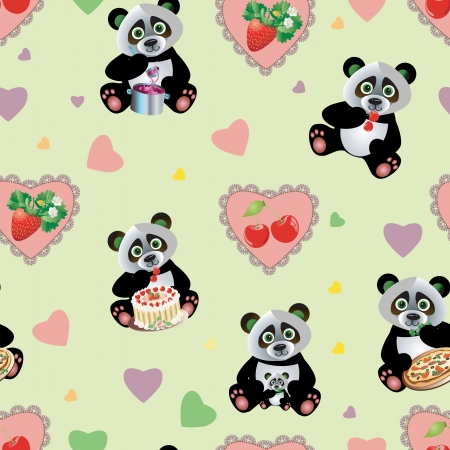 Vector sweet Panda pattern seamless with cake Çizim