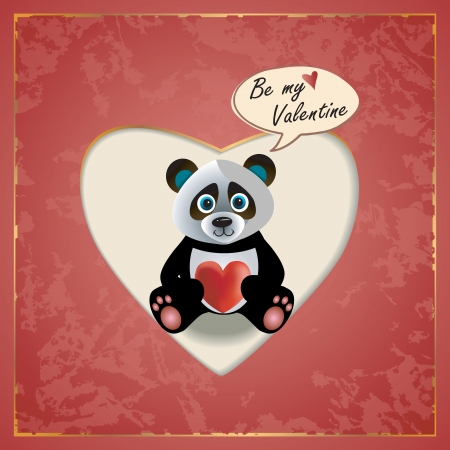 Vector Valentines Day greeting card with Panda  and heart Çizim