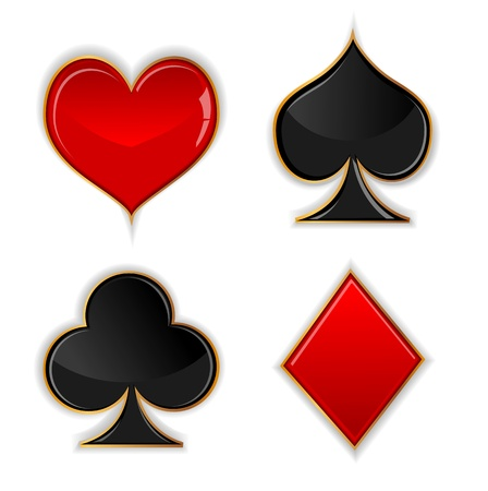 Vector illustration set  glass symbols of poker cards