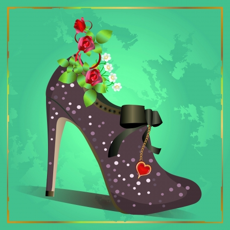 Vector illustration of womens fashion vintage shoe with diamonds and roses