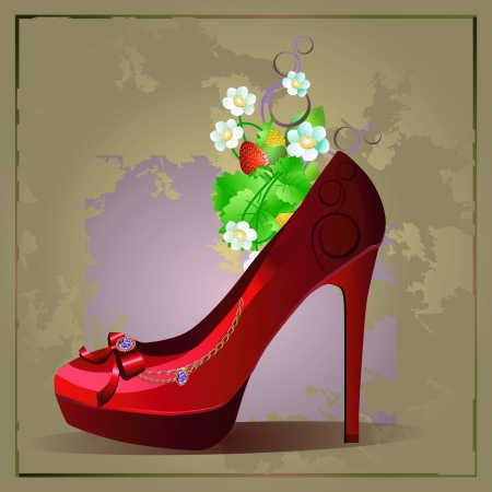 Vector illustration of womens fashion vintage shoe with diamonds and strawberry Çizim