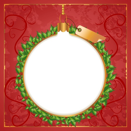 Christmas wreath background with berry and label. Çizim