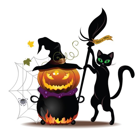 Vector Halloween cat with a broom, pumpkin and pot