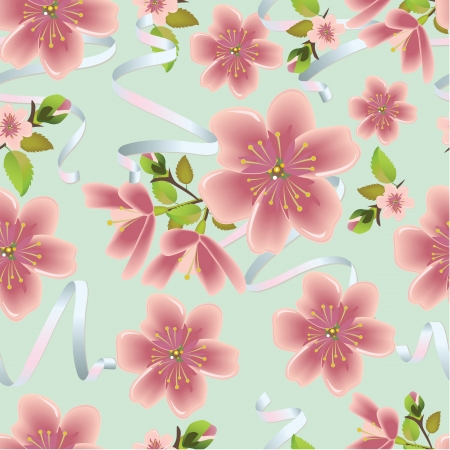 Cherry blossom vector background with ribbons. (Seamless flowers and leaves pattern) Çizim