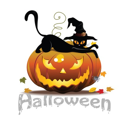 Vector Halloween icon with cat and pumpkin