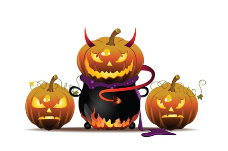 Vector Halloween illustration with pumpkin and pot