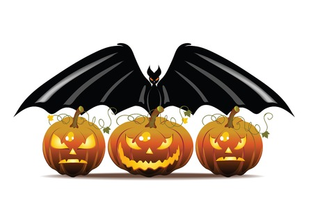 Vector Halloween illustration with pumpkin and bat