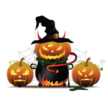 Vector Halloween illustration with pumpkin and hat