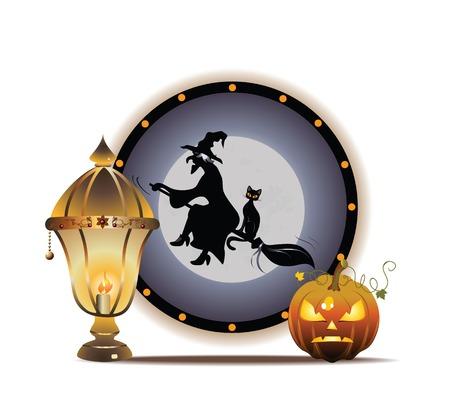 Moonlight lanterns: Vector Halloween minh họa với bí đỏ và đèn lồng