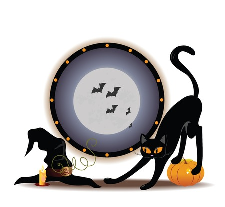 Vector Halloween illustration with cat and hat Stok Fotoğraf - 23012530