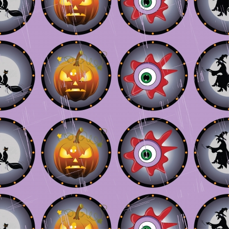 Vector Halloween seamless pattern with eyes, cat and pumpkin