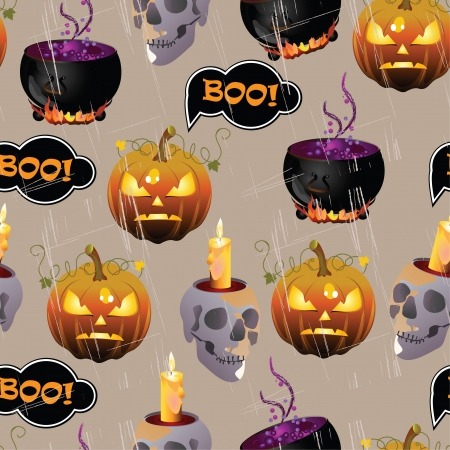 Vector Halloween seamless pattern with pumpkin and miscellaneous items
