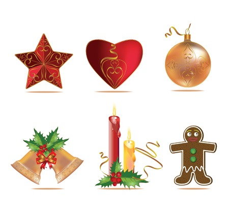 Vector Christmas holidays gingerbread man, star, candle and  bell with ribbons on white background