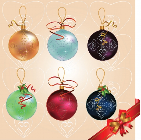 Vector Christmas holidays different colors balls with decorative ornaments and ribbons