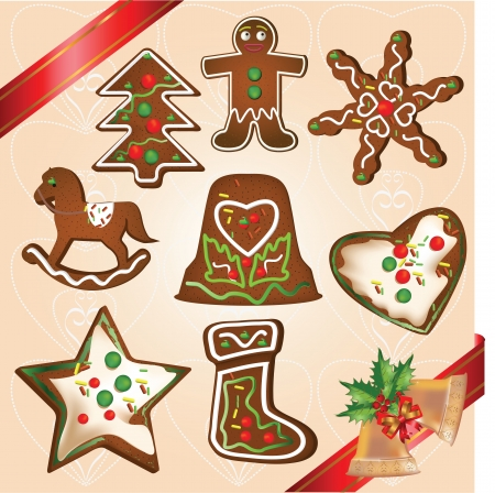 Christmas holidays gingerbread cookies in various shapes Çizim