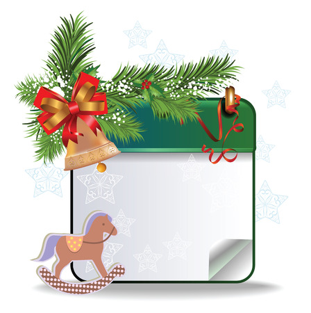 calendar page: eps10 vector Christmas calendar page with toy horse, snow and bell on white background