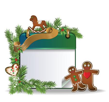 calendar page: eps10 vector Christmas calendar page with gingerbread cookies, snow and gold ribbon on white background Illustration