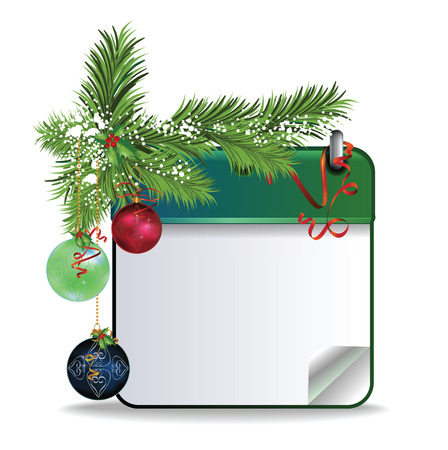 calendar page: eps10 vector Christmas calendar page with holiday decorations, snow and shiny ribbon on white background