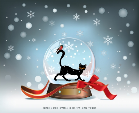 Elegant winter Christmas background with red ribbon and glass snow ball with black cat and bird inside