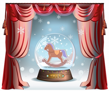 Elegant winter Christmas background with red curtains and glass snow ball with toy horse inside Çizim