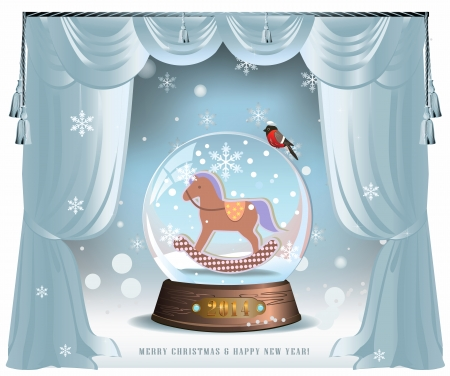 Elegant vector winter Christmas background with curtains and glass snow ball with toy horse inside Stok Fotoğraf - 24028368