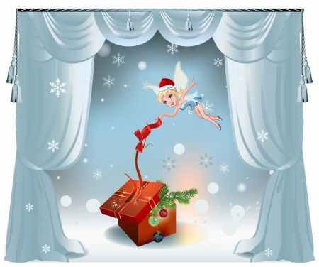 red gift box: Elegant vector Christmas background with curtains, Christmas decorations, red gift box and fairy