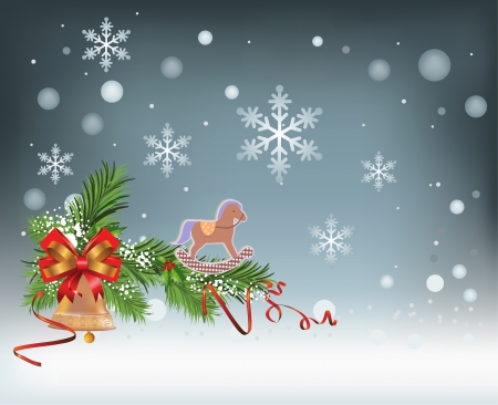 holiday celebrations: Holiday vector Christmas background with snowflakes, decoration, ribbon, bell and toy