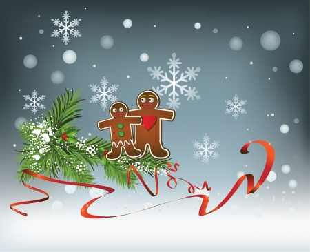 Vector holiday Christmas background with snowflakes, decoration, ribbon and gingerbread cookies