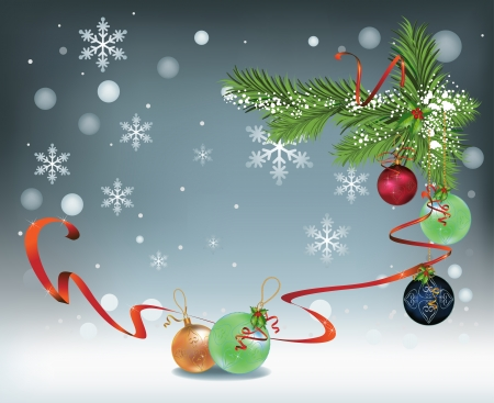 Winter vector Christmas background with snowflakes, decoration, ribbon and glass balls Çizim