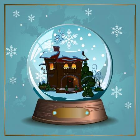 Elegant vector winter Christmas background with  glass snow ball Stok Fotoğraf - 24252486