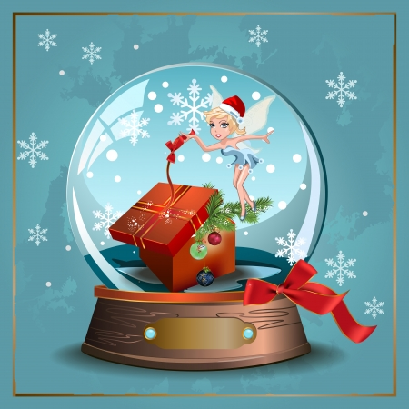 Elegant vector winter Christmas background with ribbon,glass snow ball and fairy Çizim