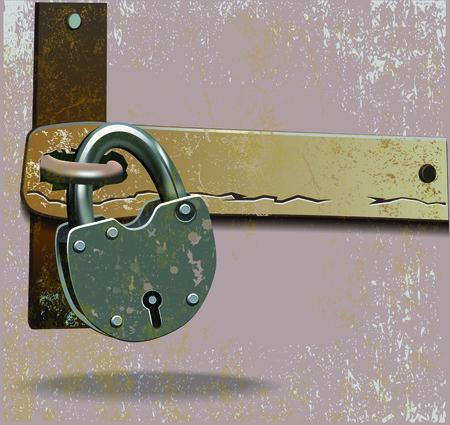 rusty padlock: Vector illustration of vintage rusty metal lock on sliding safety guard.