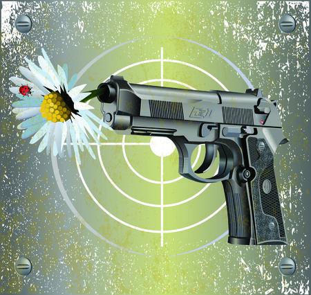 camomile flower: Vector illustration of Beretta Elite II handgun on vintage metal plate background with camomile flower and ladybug.