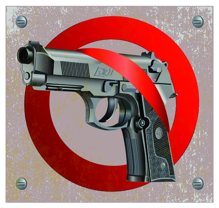 Vector illustration of Beretta Elite II handgun on vintage metal plate background getting through stop sign. Çizim