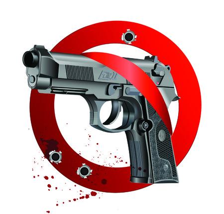 elite: Vector illustration of Beretta Elite II handgun on white bloody background getting through stop sign. Illustration