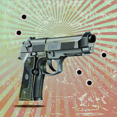 shots: Vector illustration of Beretta Elite II handgun on vintage metal plate with shots Illustration