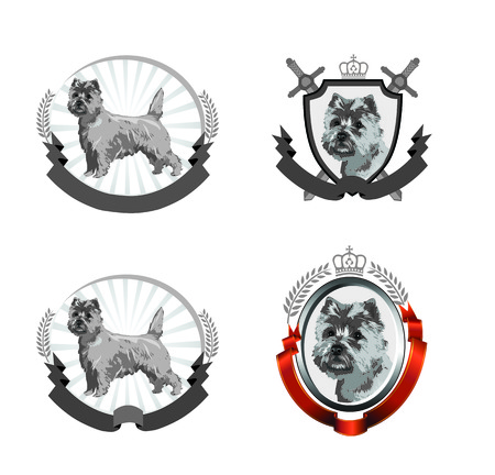 Vector illustration with 4 different Cairn Terrier logos - dogs, ribbons, shield, crown. Çizim