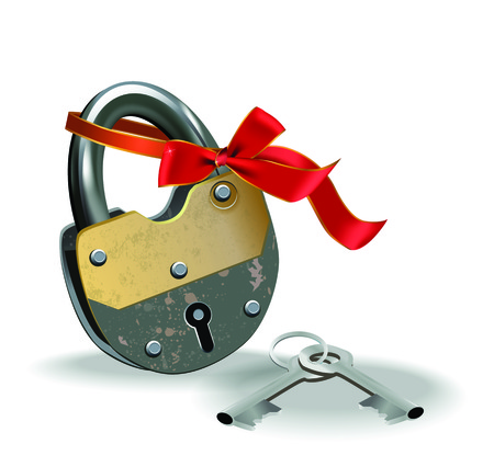 Vector illustration of metal lock with red ribbon and pair of keys.