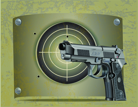 Vector illustration of Beretta Elite II handgun with the steel plate target and shots