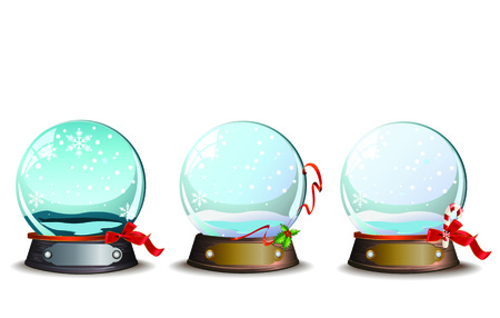 Vector illustrations with 3 different Christmas holidays snowballs, red ribbons and decorations
