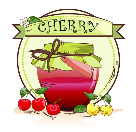 Vector illustration of sweet cherry jam jar with fruits and banner