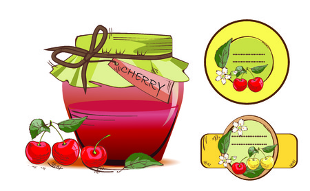 Vector illustration of sweet cherry jam jar and labels Çizim