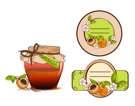 Vector illustration of apricot jam jar and labels Çizim