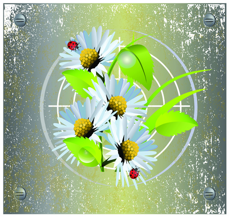 Vector illustration of camomile on metal target background and ladybugs Иллюстрация