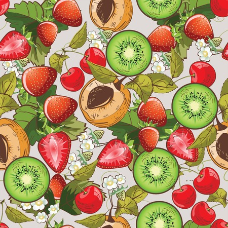 Vector seamless pattern background with summer fruits and blossom flowers