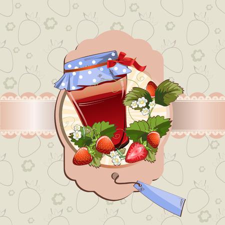 Vector illustration of strawberry jam jar, lace, label on fruit seamless pattern background Çizim